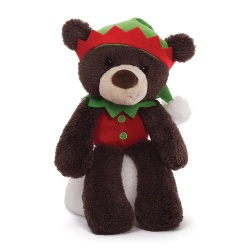 Gund Fuzzy Elf Dark Brown Christmas Teddy Bear
